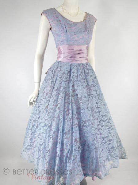 50s Lace Full Skirt Party Dress - angle view