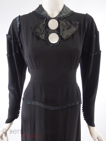 20s or 30s Black Crepe Dress - closer view, tied in back
