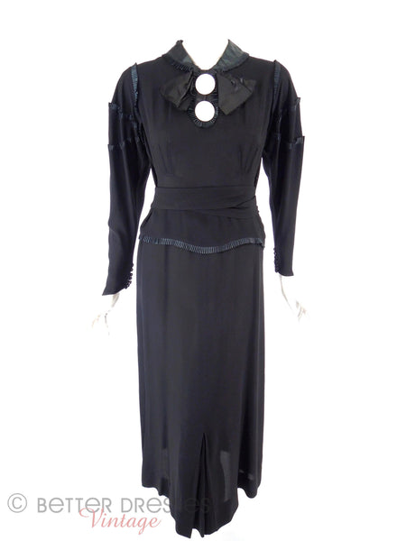20s or 30s Black Crepe Dress - full view, belted
