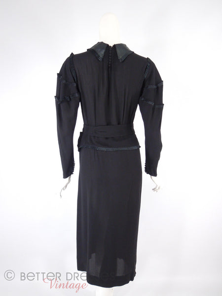 20s or 30s Black Crepe Dress - back view, belted