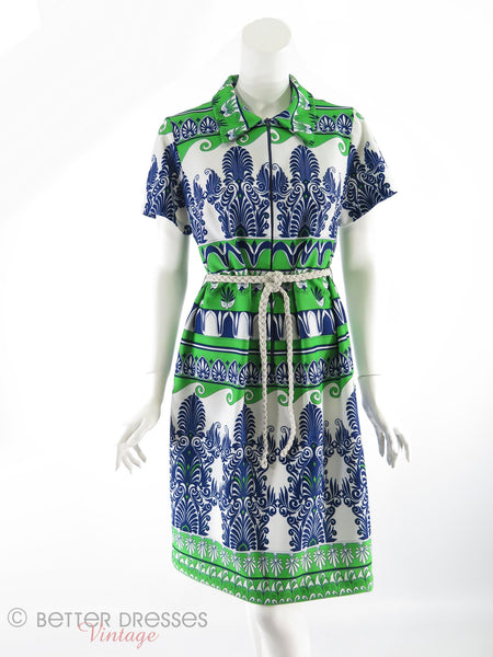 70s Belted Shift in Green and Navy - front, belted