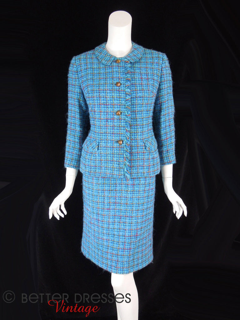 60s Blue Tweed Skirt Suit - full front view