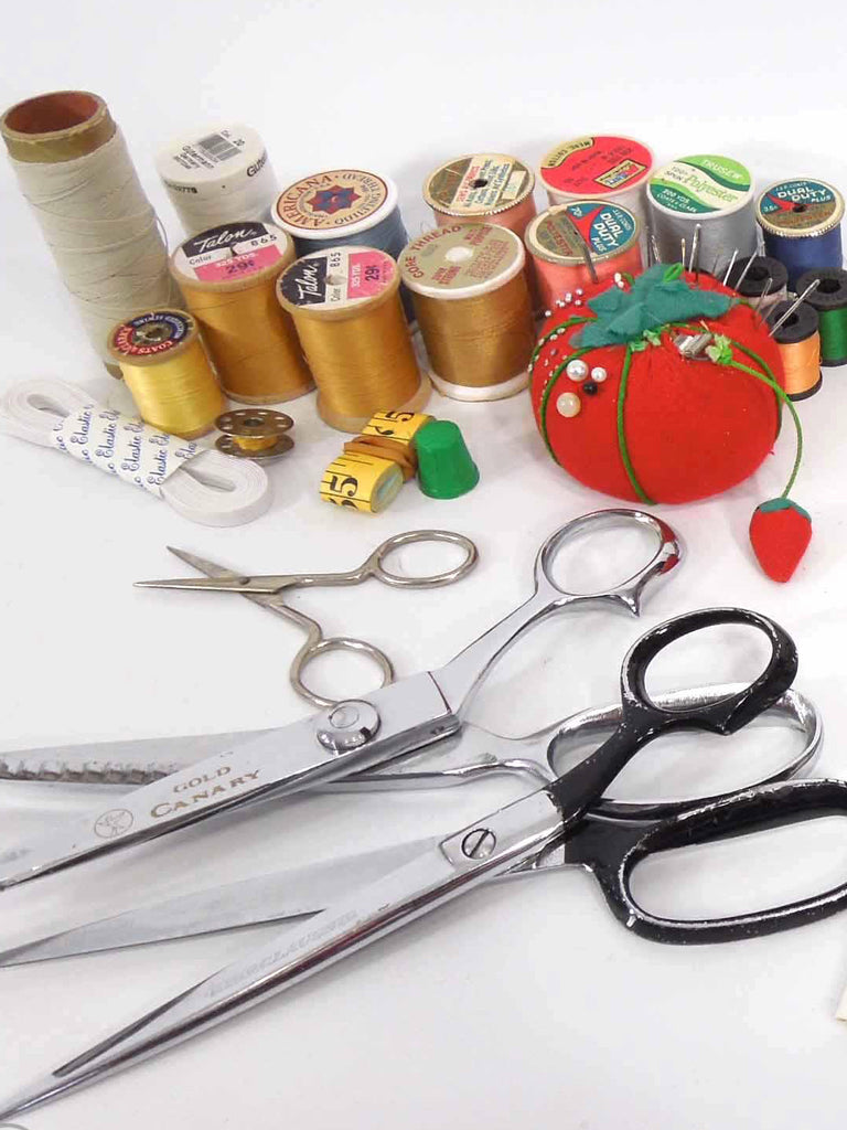 Sewing Lot - thread, tomato, sheers