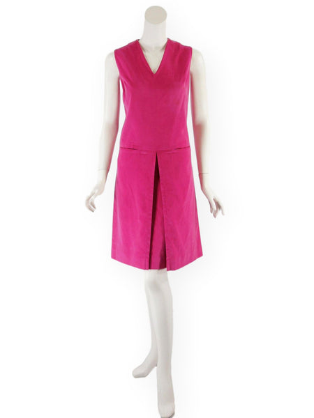 60s Hot Pink Velvet Scooter Dress - front