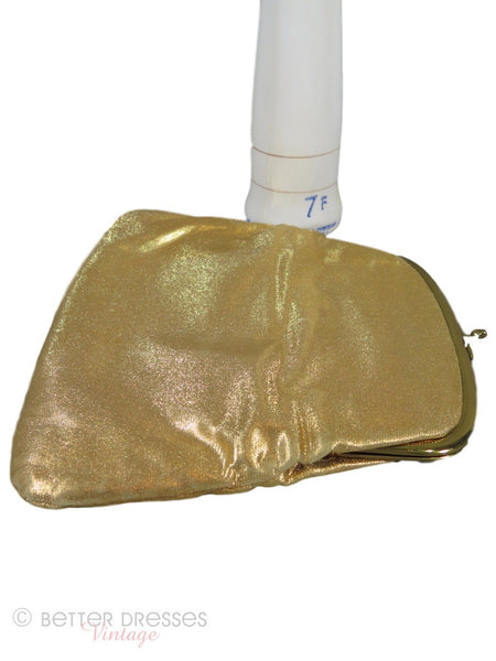 50s Gold Fold-Over Clutch - open
