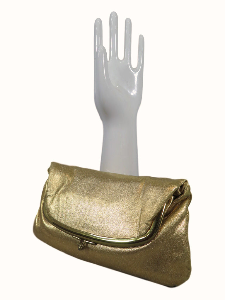 50s Gold Fold-Over Frame Clutch Purse