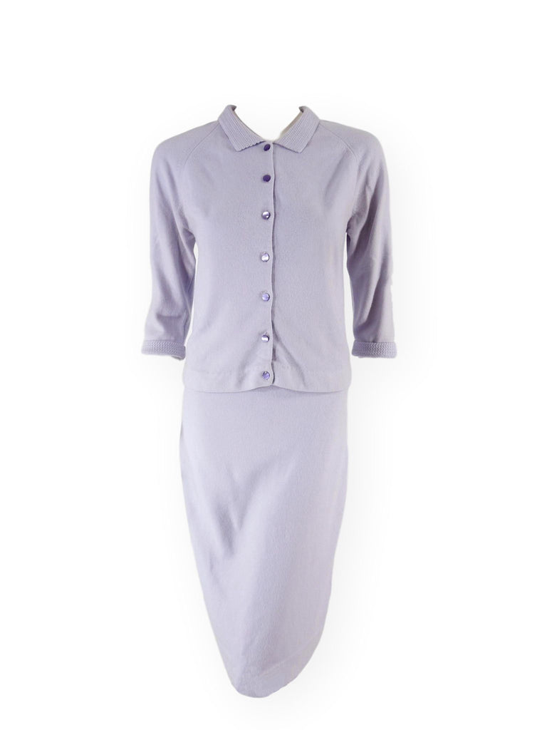 60s Lavender Sweater & Skirt Set - front view