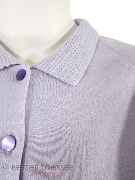 50s Lavender Knit Sweater & Skirt Set - sm, med