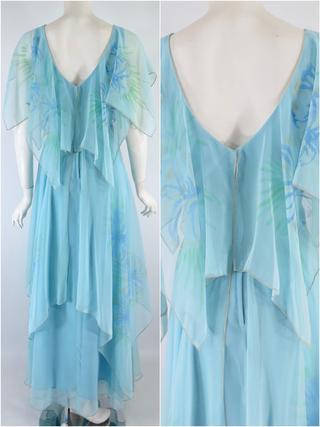 70s Light Blue Maxi - back views
