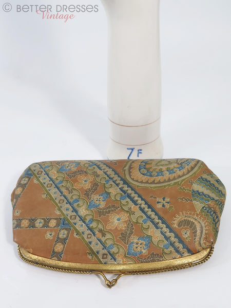 60/70s Paisley Leather Clutch Bag - back