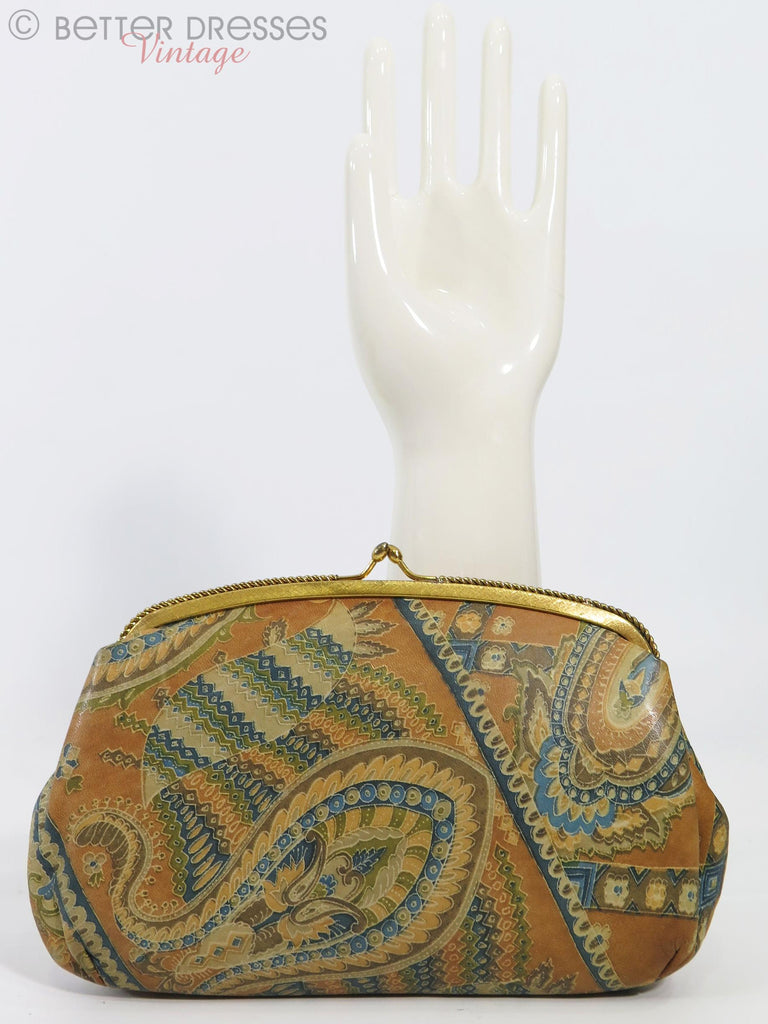 60/70s Paisley Leather Clutch Bag - front