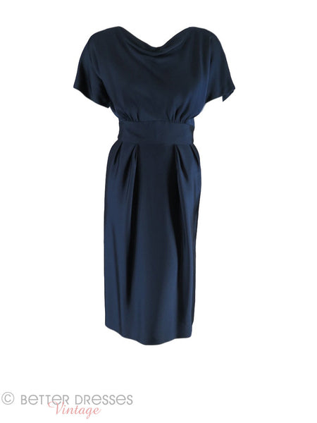 50/60s Navy Blue Sheath Dress - front