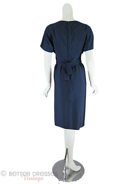 50/60s Navy Blue Sheath Dress - back
