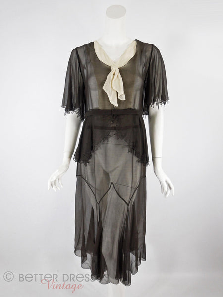 20s/30s Dress in Black Crepe - full view front