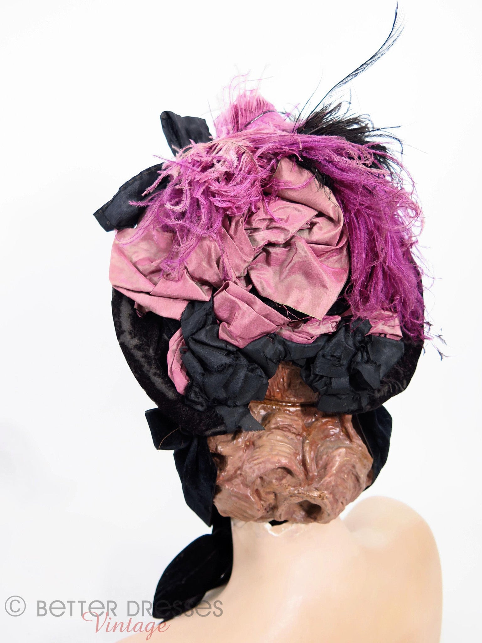 Victorian Bonnet in Black Velvet With Purple Silk and Feathers ...