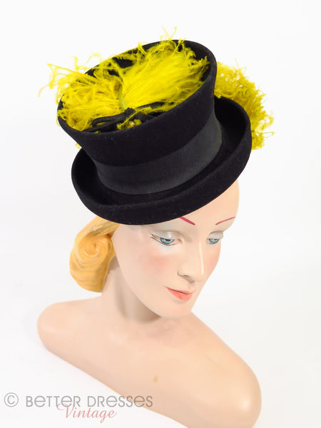 30s/40s Tilt Mini Top Hat - higher view on Betty