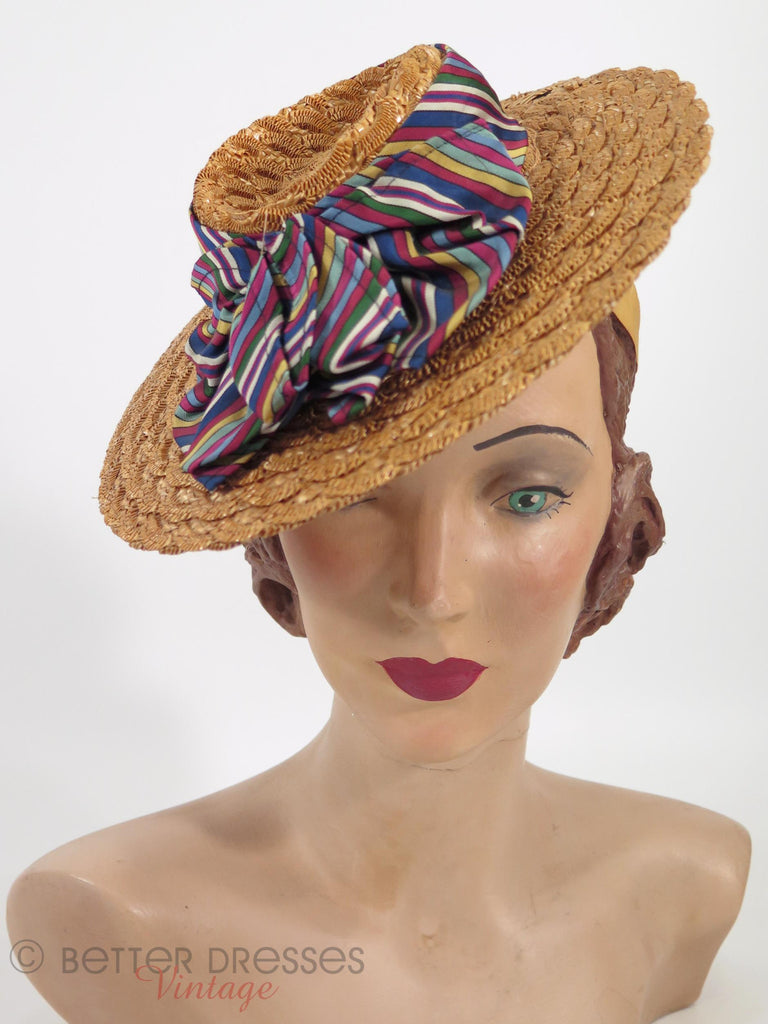 30s/40s Straw Boater Tilt Hat