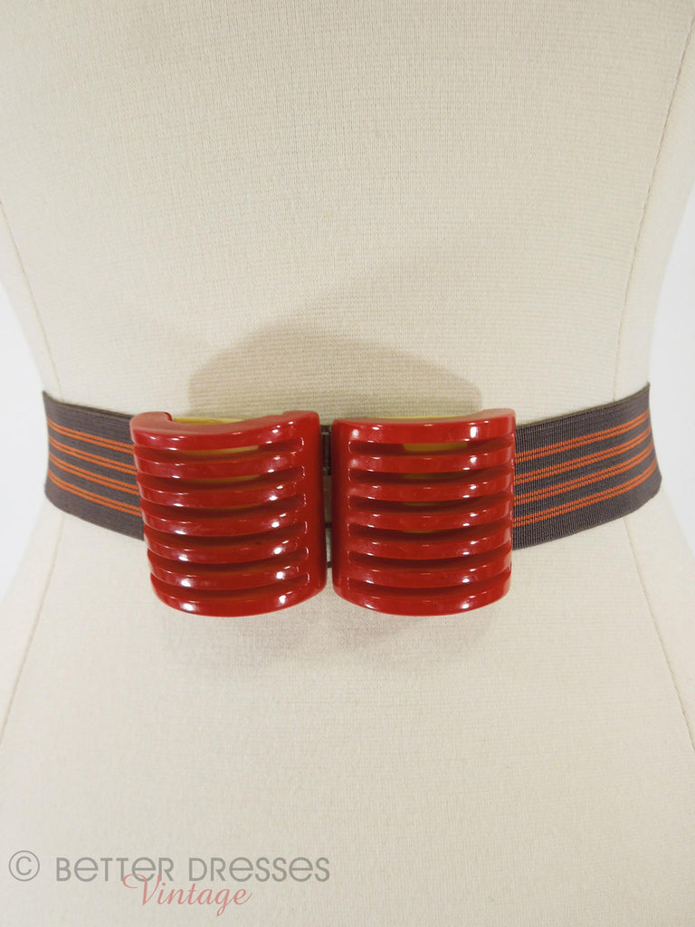 Art Deco Red Bakelite Belt Buckle & Belt