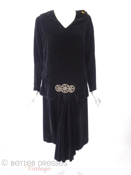 20s Black Velvet Dress - front view