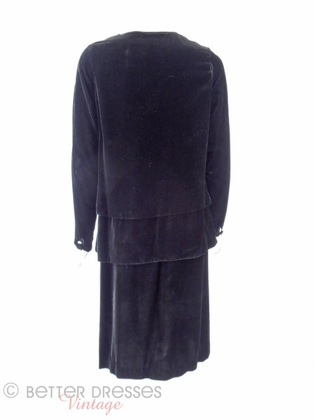 20s Black Velvet Dress - back view