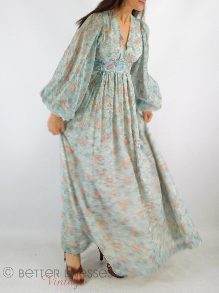 70s Blue + Peach Boho Maxi -moving