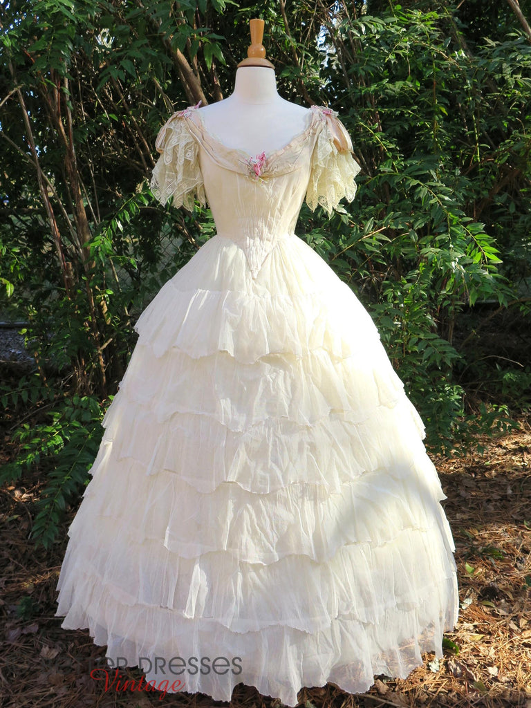 Flounced Victorian Ball Gown - with extra hoop