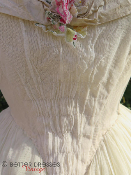 White Flounced Ball Gown -bodice ruching