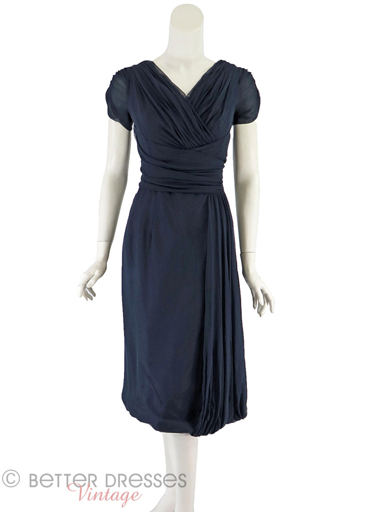 50s Navy Blue Silk Chiffon Dress - front