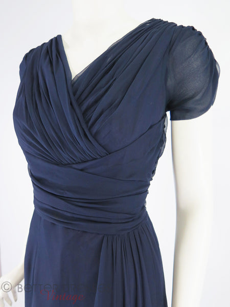 50s Navy Blue Silk Chiffon Dress - close angle view