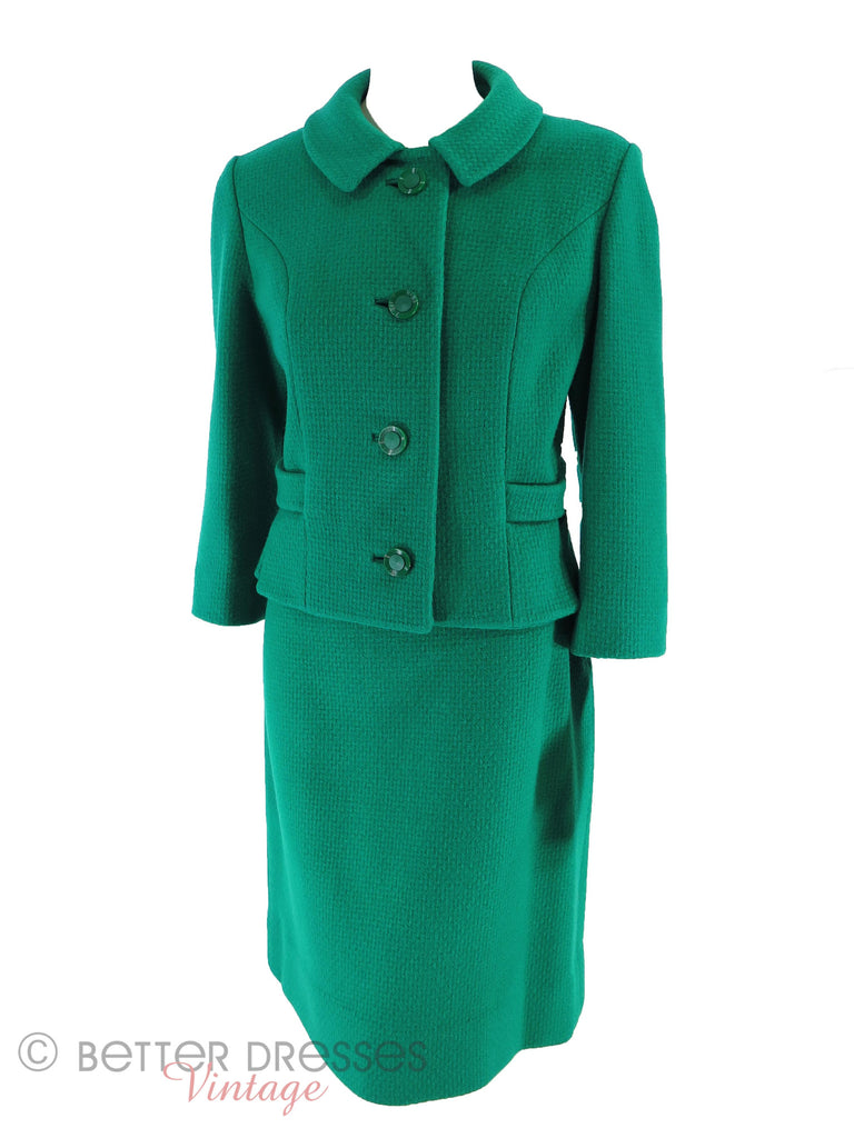 60s Green Wool Suit - front