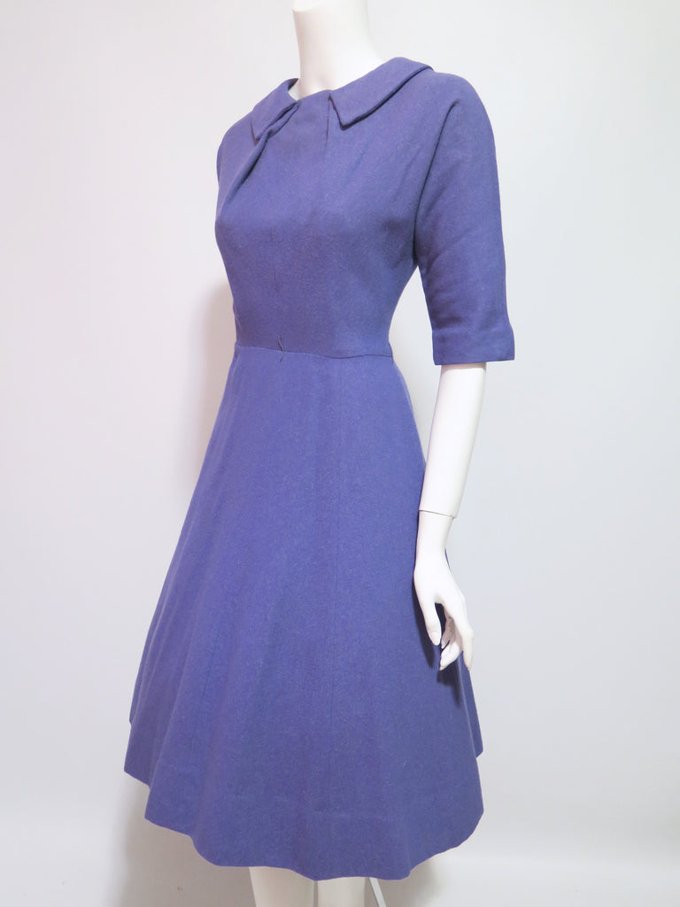 50s Purple Wool Day Dress - angle