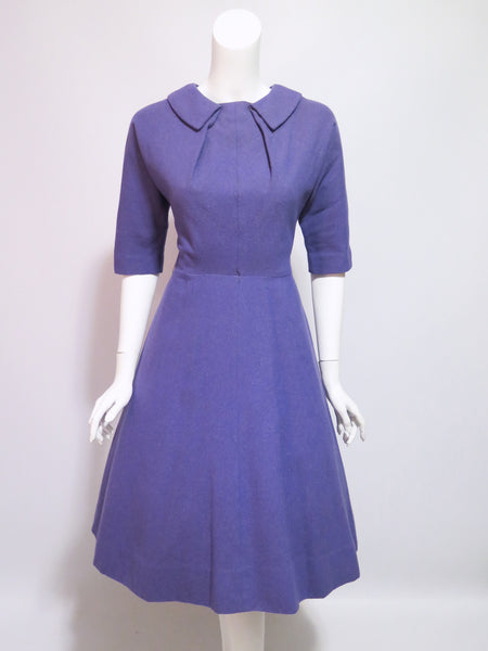 50s Purple Wool Day Dress - front with crinoline