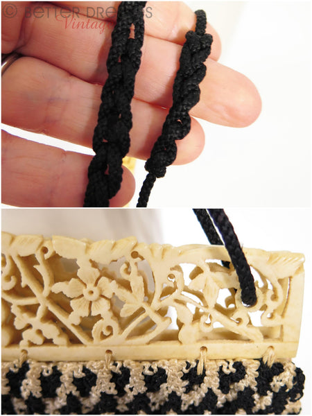30s Carved Bone and Crochet Purse - details