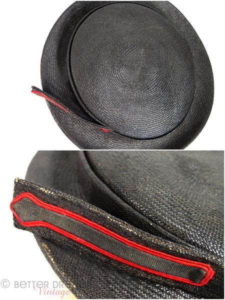 30s Black Straw Boater Tilt Hat