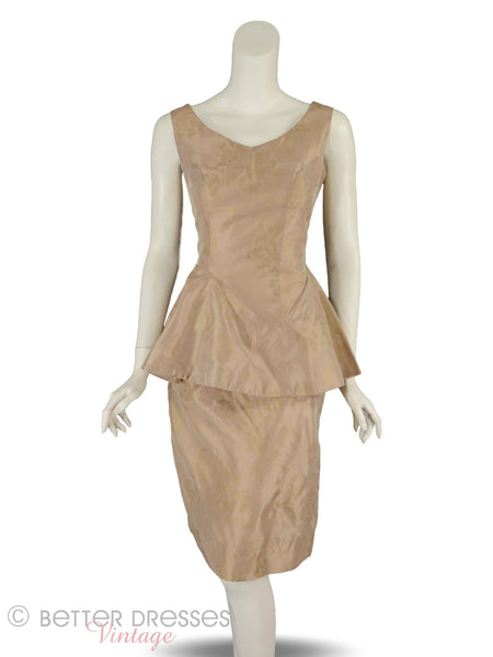 50s Mocha Peplum Wiggle Dress - front