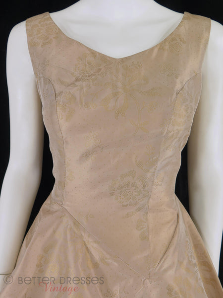 50s Mocha Peplum Wiggle Dress - close up