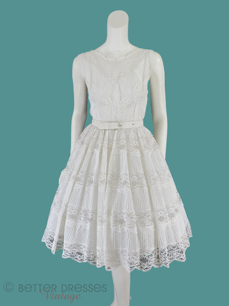 50s White Lace Party Dress - Front view on teal