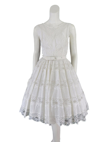 50s white lace dress