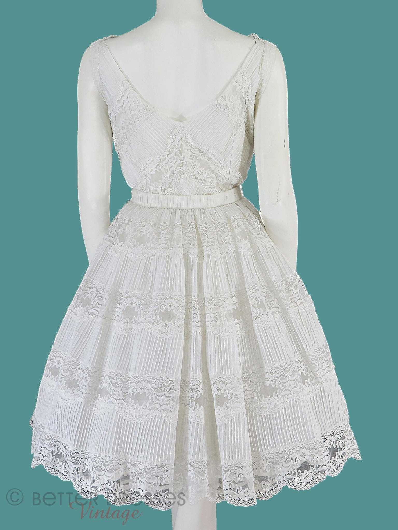 50s White Lace Full Skirt Party or Wedding Dress - sm – Better ...
