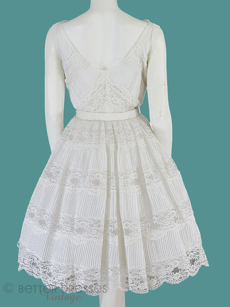 50s White Lace Party Dress - back view on teal