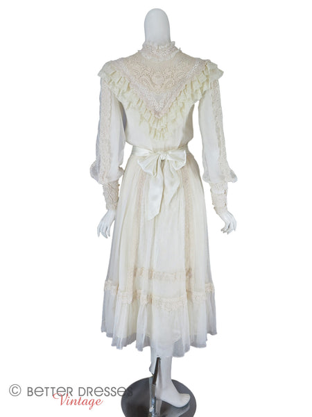 70s/80s Cream Lace Boho dress - back full view