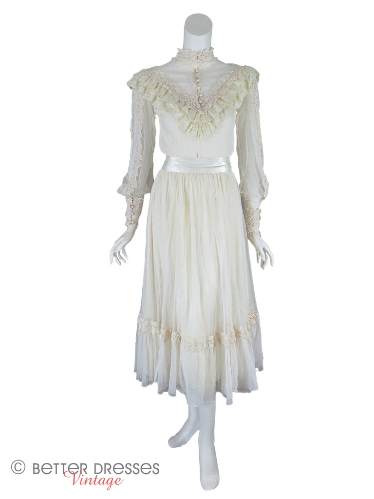 70s/80s Cream Lace Boho dress - front full view