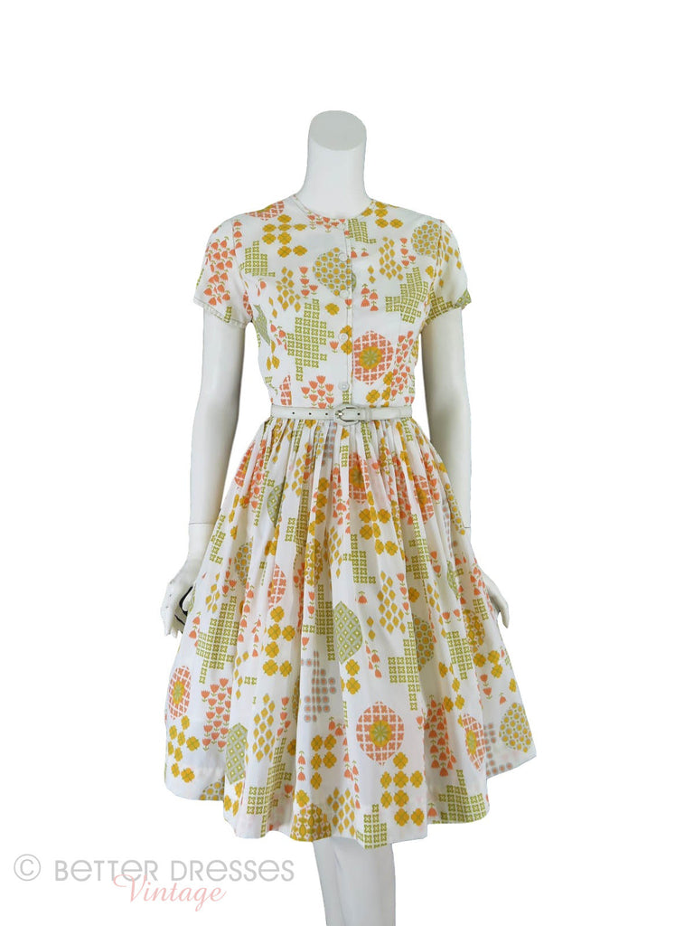 50s/60s whipped cream nylon day dress - front