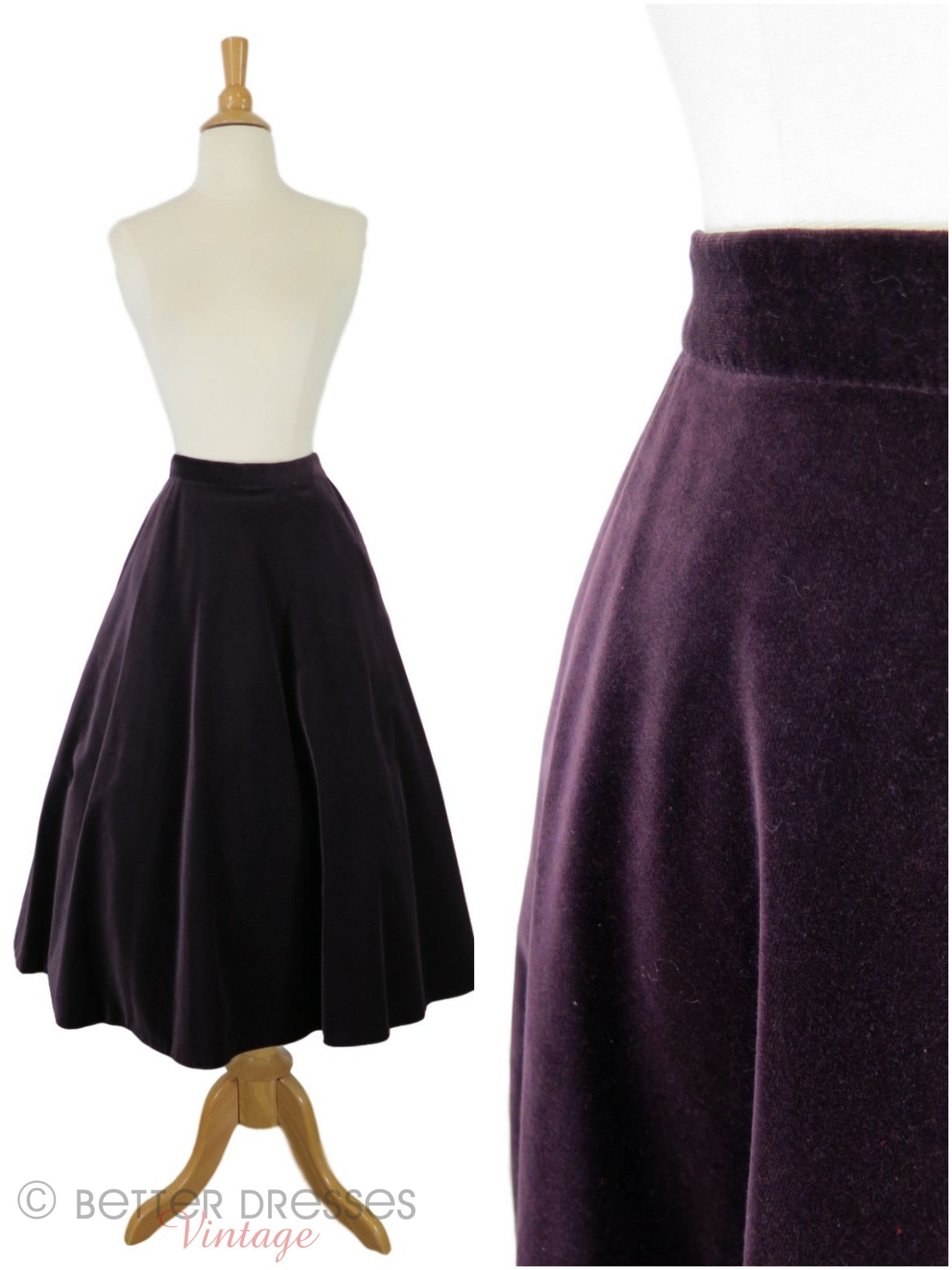 70s Does 50s Purple Velvet Full A-Line Skirt - Sm U2013 Better Dresses Vintage