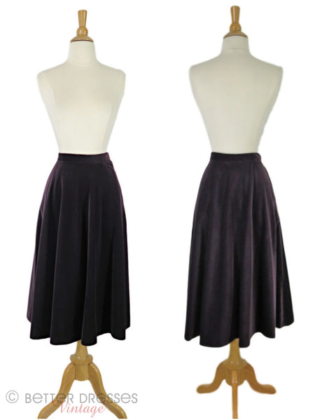 70s Purple Velvet A-line Skirt