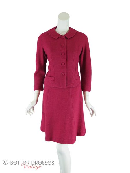 60s Red Tweed Suit - front