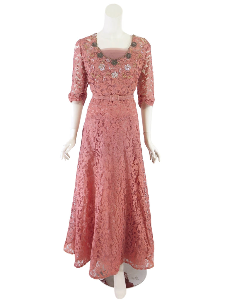 40s Pink Lace Gown
