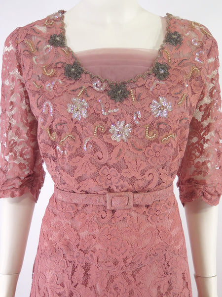 40s pink lace gown - close up