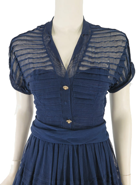 40s/50s Sheer Navy Blue Dress - close view