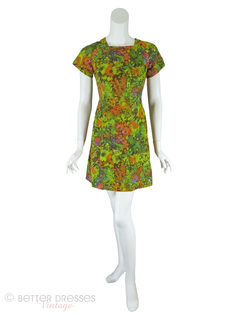 60s Acid Green Floral Mini Shift - front